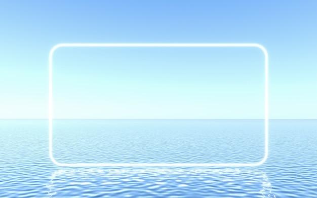 Neonframe op water, studioscène voor productpresentatie of tekst. 3d-rendering