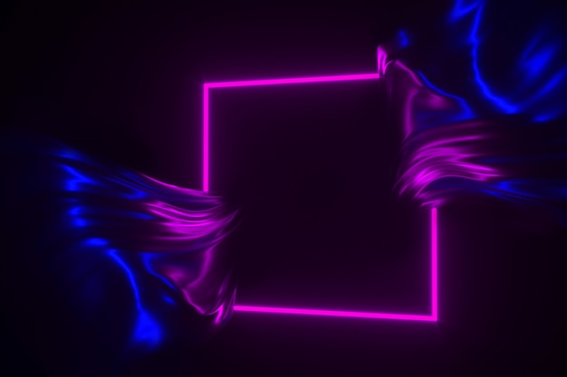Neongloed in het donkere kader en stromende glanzende stoffen 3d illustratie