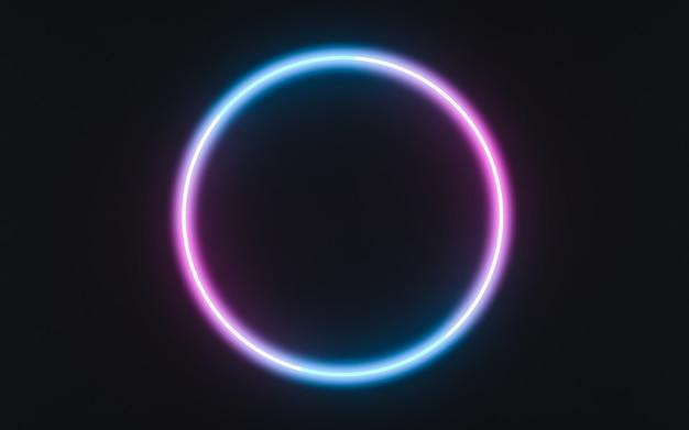 Neonkaderbord in de vorm van een cirkel. 3d illustratie
