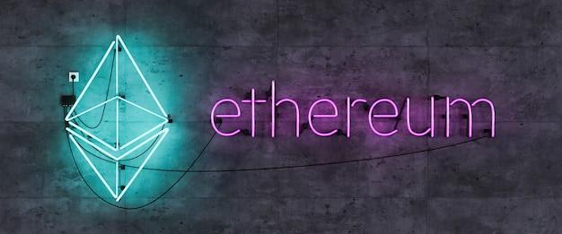 Neonlamp hoofdeinde met ethereum-symbool