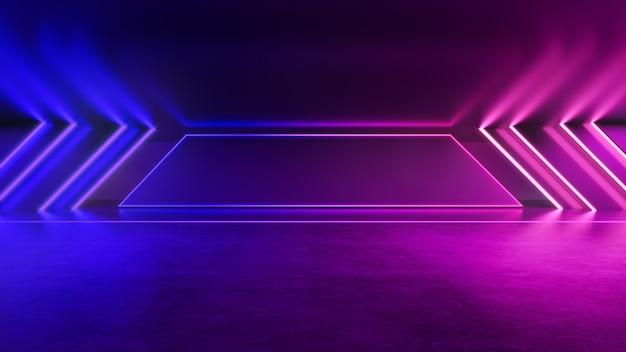 Neonlicht, abstracte futuristische achtergrond, ultraviolet concept, 3d render