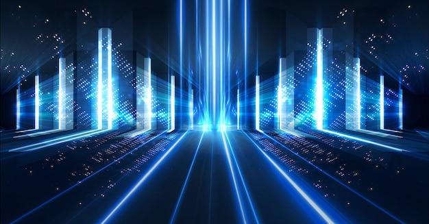 Neonlicht en lasershow. laser futuristische vormen op een donkere achtergrond. blauw neonlicht, symmetrische reflectie