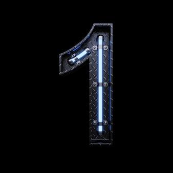 Neonlicht letter 1 met blauwe neonlichten.