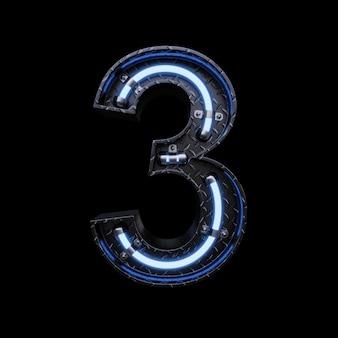 Neonlicht letter 3 met blauwe neonlichten.