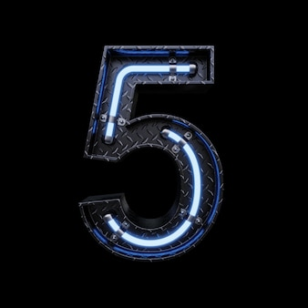 Neonlicht letter 5 met blauwe neonlichten.