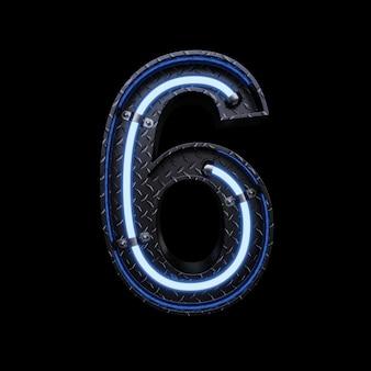 Neonlicht letter 6 met blauwe neonlichten.