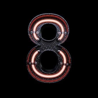 Neonlicht letter 8 met rode neonlichten.