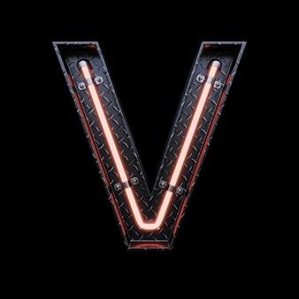 Neonlicht letter v met rode neonlichten.