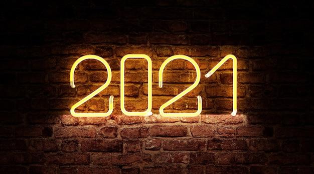 Neonlicht van het nieuwjaarssymbool van 2021 op bakstenen muur
