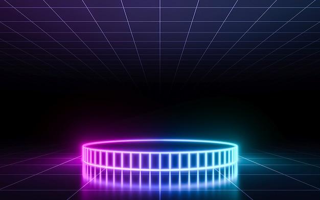 Neonpodium met perspectiefraster. 3d-rendering