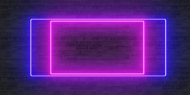 Neonreclames aan de muur neonreclames en bakstenen muren tekstkader op paneel 3d illustratie