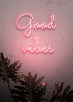 Neonrode good vibes op een muur