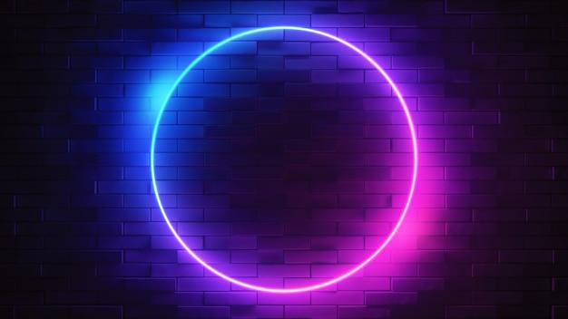 Neonteken op een bakstenen muur. gloeiende cirkel. abstracte achtergrond, spectrum levendige kleuren. 3d render illustratie.