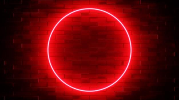 Neonteken op een bakstenen muur. gloeiende rode cirkel. abstracte achtergrond, spectrum levendige kleuren. 3d render illustratie.