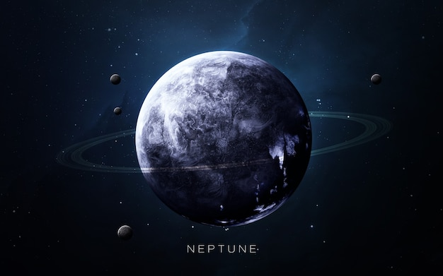 Neptunus in de ruimte, 3d illustratie. .
