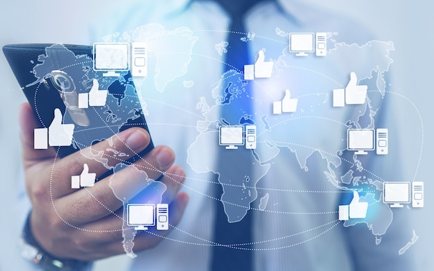 Net als netwerk en technologie - man holding smartphone background