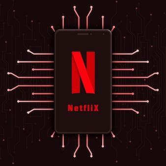 Netflix-logo pictogram op het telefoonscherm op technische achtergrond 3d