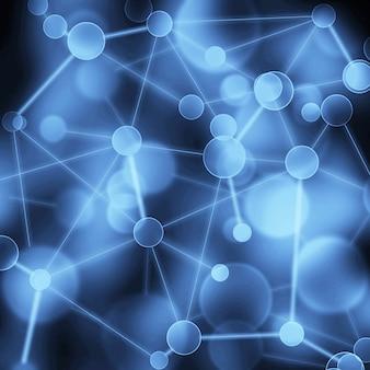 Netwerk abstracte achtergrond. neurale sociale netwerk blockchain netwerk wetenschap verbinding structuur concept. virtuele donkerblauwe achtergrond met genetische en chemische verbindingen van de deeltjesmolecuulstructuur