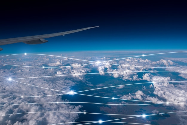 Netwerk & cloud concept in de lucht