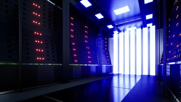 Netwerk- en gegevensservers achter glazen panelen in een serverruimte van een datacenter of isp 3d-rendering