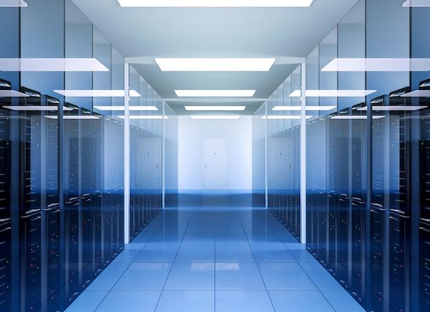 Netwerk- en internetcommunicatietechnologie in het serverruimte-interieur van het datacenter