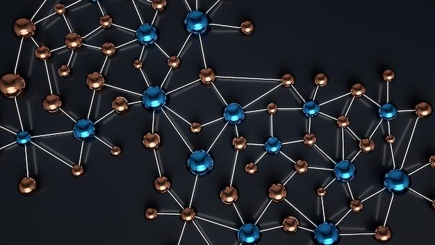 Netwerk van onderling verbonden eenheden. metalen bollen verbonden door licht. 3d illustratie.