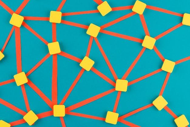 Netwerkconcept met gele vierkantjes
