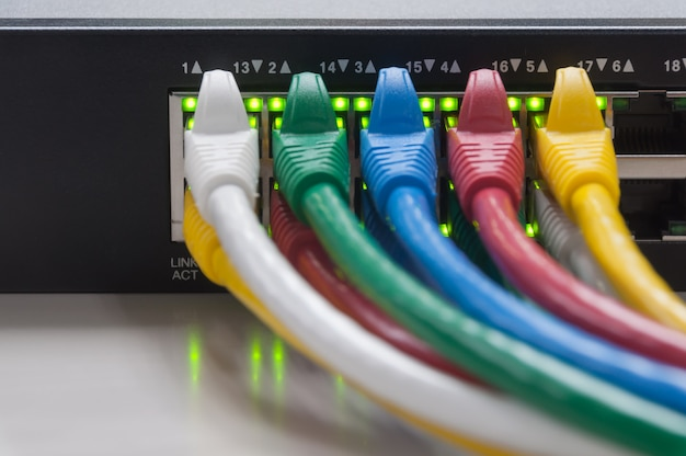 Netwerkpaneel, switch en kabel in datacenter