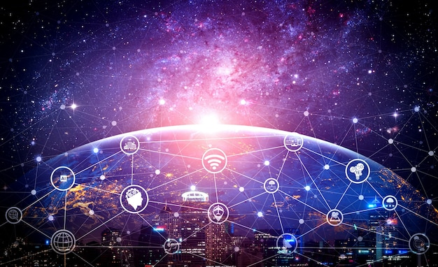 Netwerkverbinding en internetcommunicatie Premium Foto