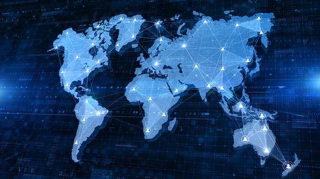Netwerkverbinding structuur wereldkaart met gebruikerspictogram mensen