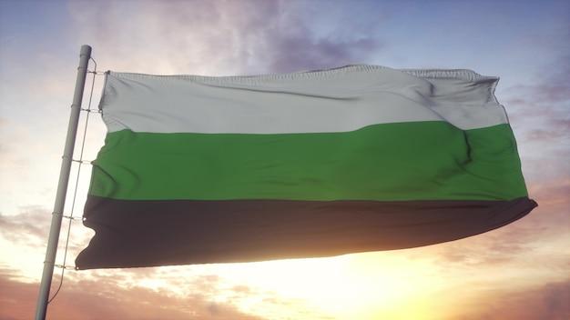 Neutrois trots vlag zwaaien in de wind, lucht en zon achtergrond. 3d-rendering