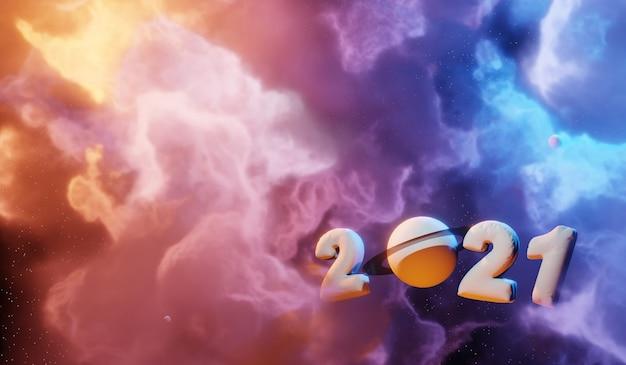 Nevel en sterrenstelsels in de ruimte. abstracte kosmos 2021 concept achtergrond