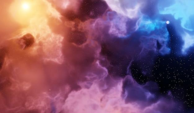Nevel en sterrenstelsels in de ruimte. abstracte kosmos achtergrond