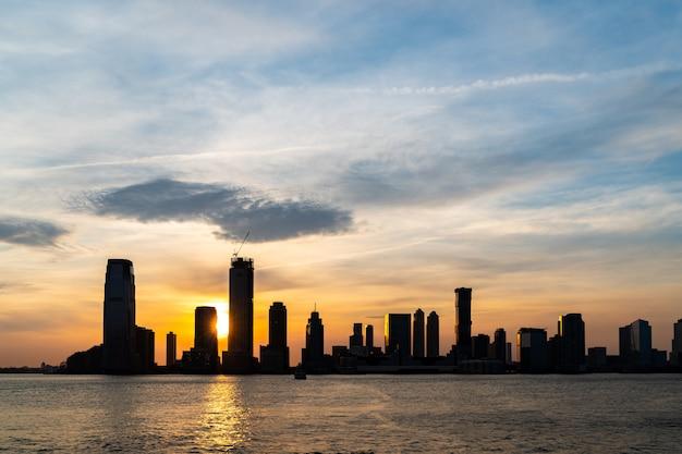 New jersey skyline-zonsondergang