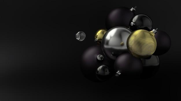 New year's gouden bal over de achtergrond van zwarte ballen. 3d-weergave.