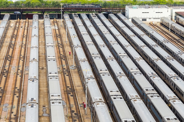 New york city penn station panoramisch uitzicht op hudson yards treinstation