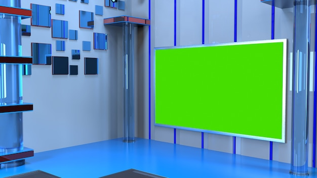 News studio, achtergrond voor tv-shows .tv op wall.3d virtuele nieuwsstudio achtergrond, 3d illustratie