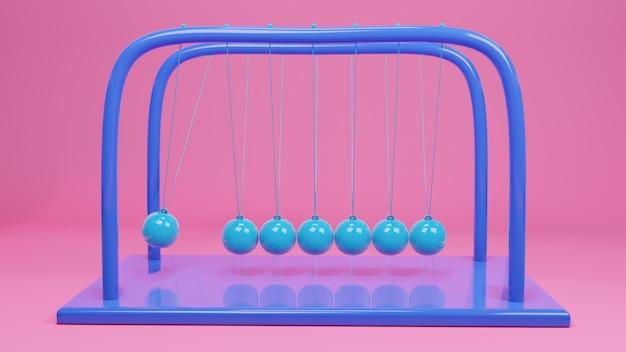 Newton bal, balans bal ontwerp, momentum swing beweging, 3d-rendering