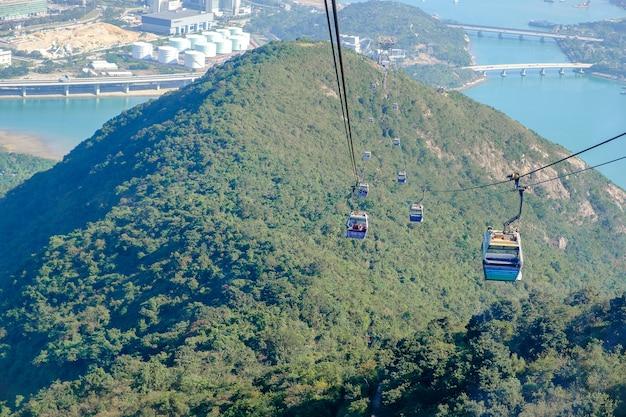 Ngong ping-kabelwagen met toeristen over haven, bergen en stadsachtergrond in hong kong