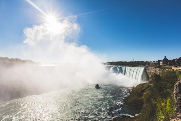 Niagara falls panoramisch uitzicht vanaf de kant van canada