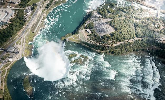Niagarawaterval van hierboven, de vs en canada