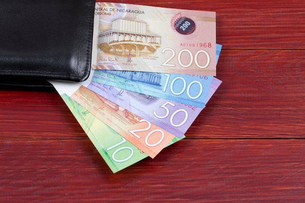 Nicaraguaans geld in de zwarte portefeuille