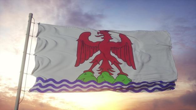 Nice county vlag, frankrijk, zwaaien in de wind, lucht en zon achtergrond. 3d-rendering