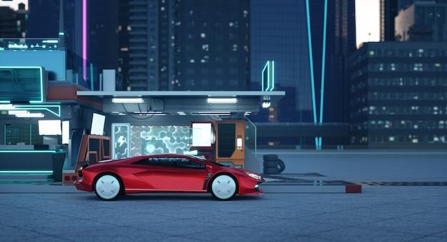 Niet-bestaande merkloze generieke concept rode sportwagen in de futuristische garage 3d-rendering