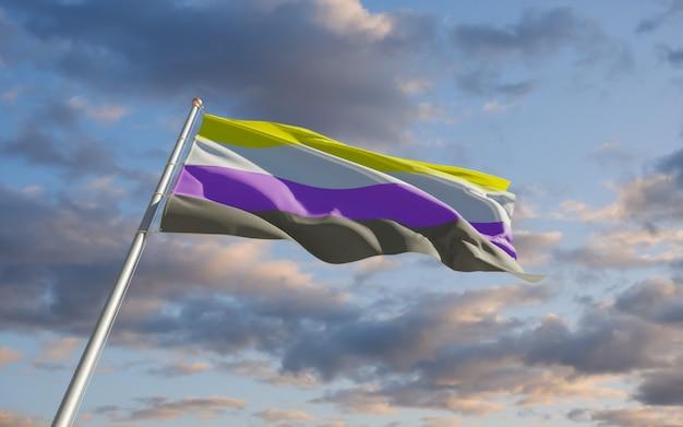 Niet-binaire vlag. 3d-illustraties