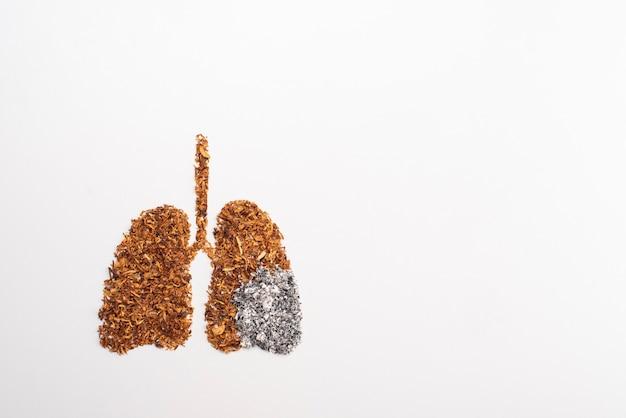 Niet roken concept met sigaretten en tabak lunges vorm
