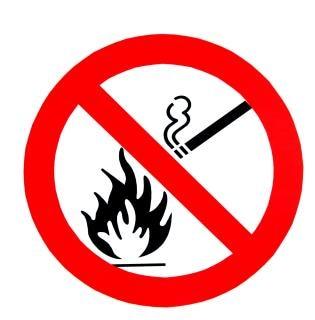 Niet roken, geen vuur te ondertekenen