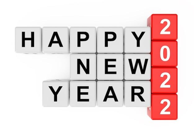 Nieuw 2022 jaarconcept. gelukkig nieuwjaar 2022 teken als kruiswoordraadselblokken op een witte achtergrond. 3d-rendering.