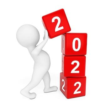 Nieuw 2022 jaarconcept. persoon die 2022 nieuwjaarskubussen op een witte achtergrond plaatst. 3d-rendering