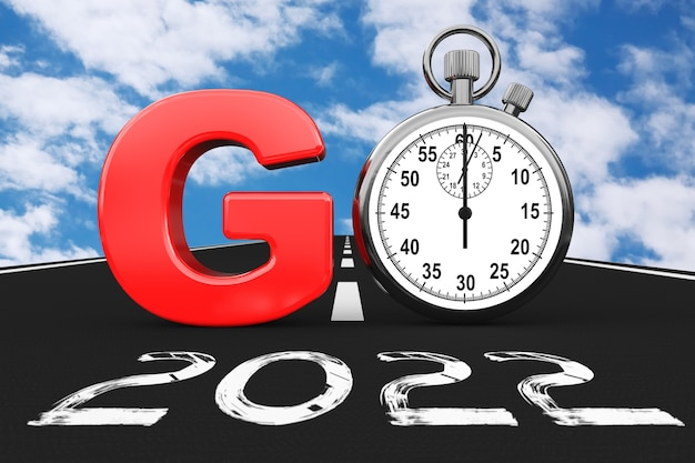 Nieuw 2022 jaarconcept. stopwatch als go sign over 2022 new year road op een blauwe hemelachtergrond. 3d-rendering
